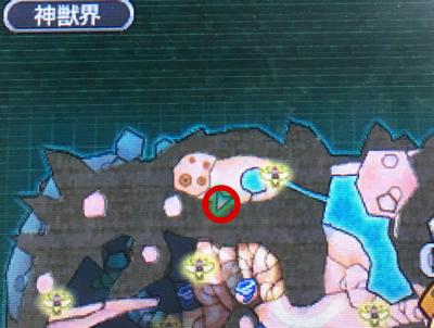 神獣界マップ左上の湿原トンネルの場所