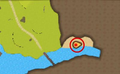 水上ライドで、グルッと下へ回り込んだ先の陸地にいるプーギーの場所