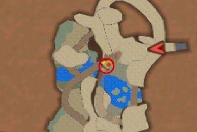 ポルデ山の洞窟奥地の丸太から、滝の方へ向かって降りた場所のプーギー